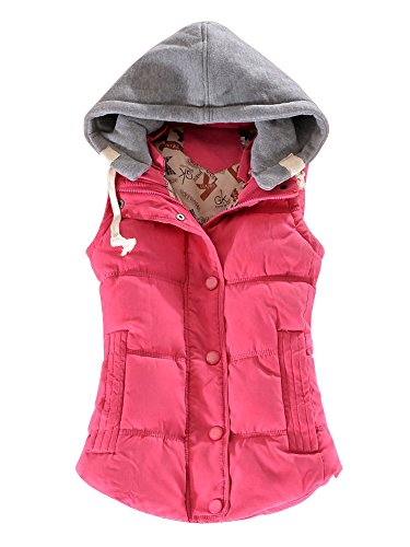 Hiver Femme OCHENTA Manteau Automne sans rouge Casual Manches Capuche Sportif Epais Rose Gilet Coton 0a0rwqx