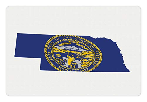 Lunarable Nebraska Pet Mat for Food and Water, Map with State Flag USA The Cornhusker State North America Traveling Print, Rectangle Non-Slip Rubber Mat for Dogs and Cats, Blue Mustard White
