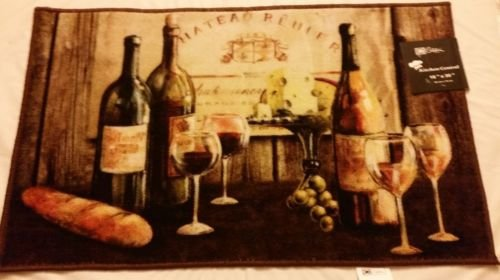 The Pecan Man Bottle Wine and Bread KITCHEN RUG (non skid latex back),1Pcs 18x30