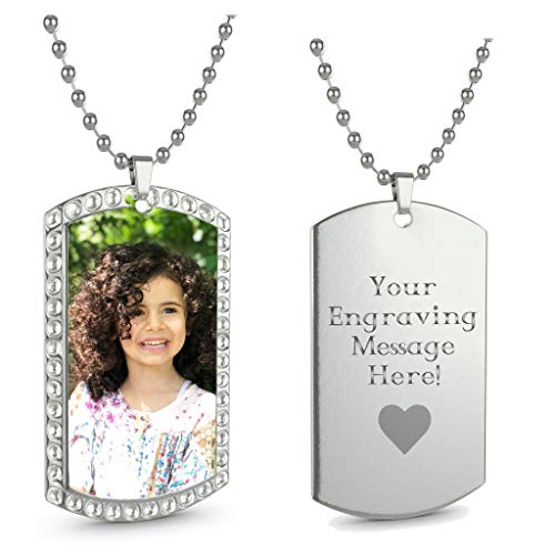 Dog Tag Style Necklace - Interway Trading Personalized Custom Photo High Polished Color Engraved Dog Tag Necklace Pendant and 24 inch Stainless Steel Chain, Velvet Giftpouch and Keyring (Rectangular Stone Silver-Color Style)