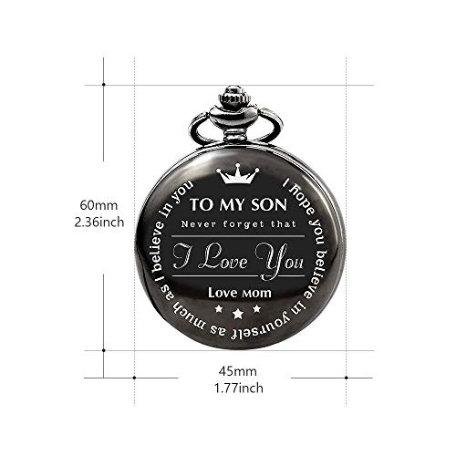 Bijours Black Vintage Quartz Roman Numerals Necklace Pocket Watch Gift,to My Son, Never Forget That I Love You, Love Mom, Suitable for Son's Birthday, Wedding and Important Day Best Gift for Son by Bijours (Image #1)