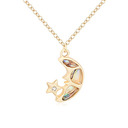 SENFAI Classics Crescent with Star Natural Abalone Shell Pendant Necklace (gold)