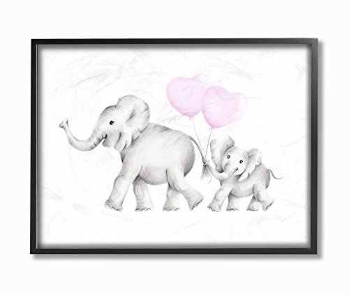The Kids Room by Stupell Stupell Industries Mama and Baby Elephants Oversized Framed Giclee Texturized Art, 16 x 1.5 x 20, Proudly Made in USA made in Rhode Island