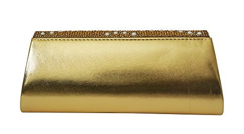 Rhinestones Gold Patent With Wedding and Pearls Leather Evening Chicastic Pearl Clutch Shiny pFvw0q0