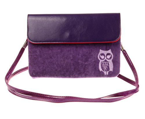 Cotton Pouch Purple Print Horizontal KISS Mini TM Owl GOLD Cellphone n48zw7aq
