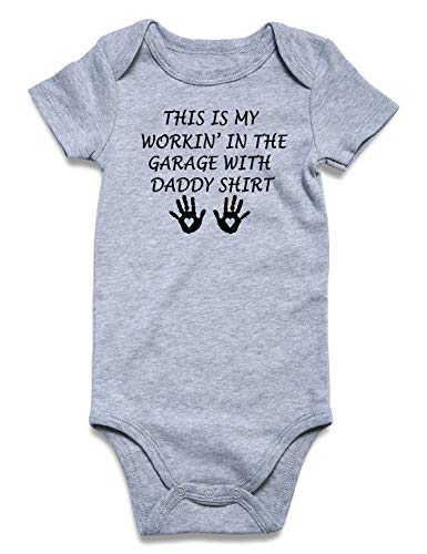 Funnycokid Newborn Boys Girls Jumpsuit This is My Workin in The Garage with Daddy Shirt Rompers Baby Infant Layette Bodysuit 0-3 Months (Best Infant Boy Clothes)