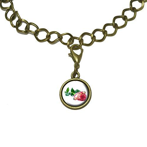 Long Stem Rose Multi Color Flower Charm with Chain Bracelet