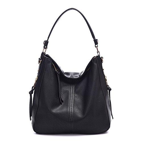 DDDH Vintage Hobo Handbags Shoulder Bags Durable Leather Tote Bags Crossbody Purses Bucket Bag For Women/Ladies/Girls(Black new)