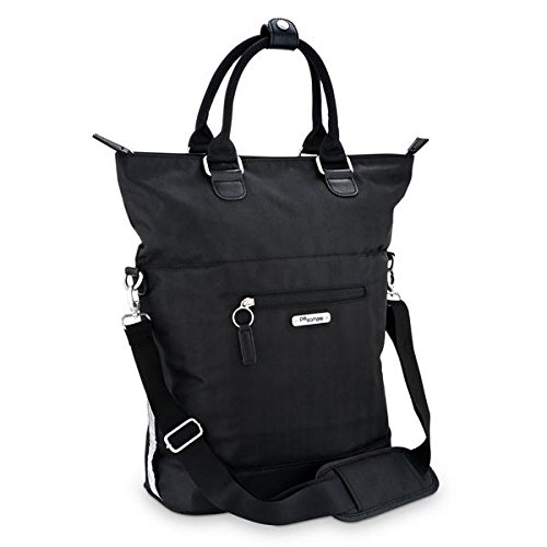 (Po Campo Bergen Laptop Pannier | Weatherproof Bike Bag | Attach to Rear Rack | Convert to Crossbody Bag | Black Herringbone)