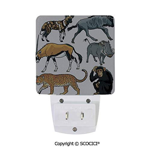 SCOCICI Custom LED Sensor Night Light Collection of Cartoon Style Wild Animals of Africa Fauna Habitat Savannah Plug-in LED Night Light with Dusk-to-Dawn Sensor for Kids Bedroom Hallway(2 Pack)