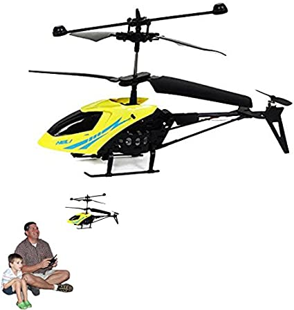 Dazzling Toys Remote Controlled Helicopter Color Yellow Alloy Design 3.5 Channels for Accurate Flying