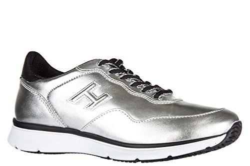 Hogan Scarpe Da Donna Sneakers Da Ginnastica In Pelle H254 Tradizionale Argento 2015