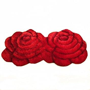 Ustide Fashion 2 Rose Rug Wedding Red Carpet Shag Floral Mat For Bedroom