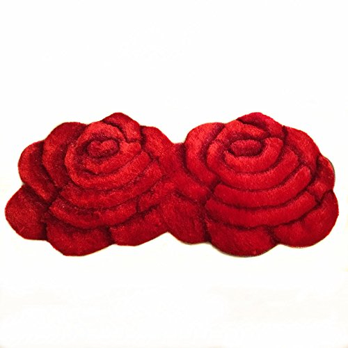 Ustide Fashion 2 Rose Rug Wedding Red Carpet Shag Floral Mat for Bedroom by USTIDE
