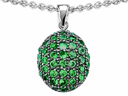 Star K Oval Puffed Pendant Necklace with Simulated Emerald Sterling Silver (Sterling Star Puffed Silver)