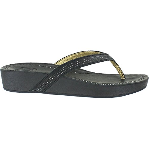 OluKai Ola - Womens Wedge Leather Sandal Black/Black - - Olas Las Stores