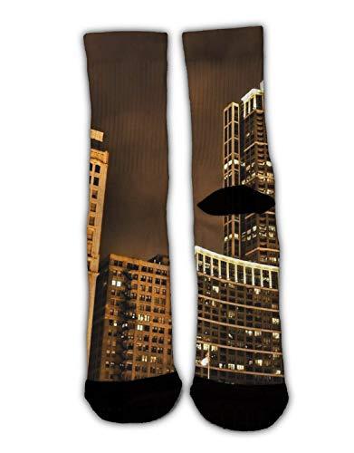 MrDecor Men USA Chicago Skyline Night View Crew Socks Warm Over Boots Stocking Trendy Long Socks]()