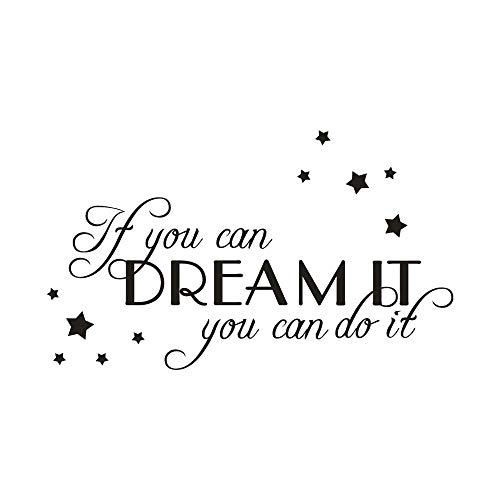 ❤️Jonerytime❤️If You Can Dream It You Can It Home Decor Wall Sticker Decal Bedroom Vinyl Art Mural Black