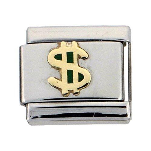 Stainless Steel 18k Gold Dollar Sign Charm for Italian Charm Bracelets