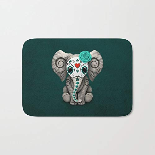Elephant Sugar - Custom Decorative Doormats Teal Blue Day of The Dead Sugar Skull Baby Elephant 16x24 Inch Doormat Non-Slip Polyester Front Door Mats Washable Entrance Rug for Inside Outside Patio Living Room