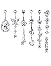 Adramata 7 PCS 14G Belly Button Rings for Women Dangle Navel Rings Curved Barbell CZ Body Piercing