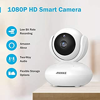 ANNKE 1080P IP Camera, Smart Wireless Pan/Tilt Home Security Camera, APP Alarm Push, Two-Way Audio, Support 64GB TF Card, Cloud Storage Available, Work with Alexa(Echo Show/Echo Spot)