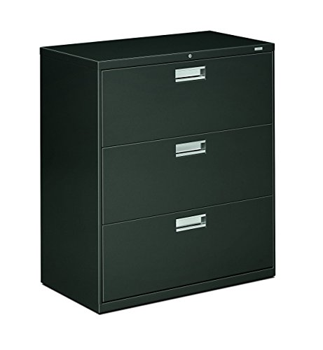 HON Brigade 3-Drawer Filing Cabinet - 600 Series Lateral Legal or Letter File Cabinet, Charcoal - 3 Drawer Cabinet File Hon