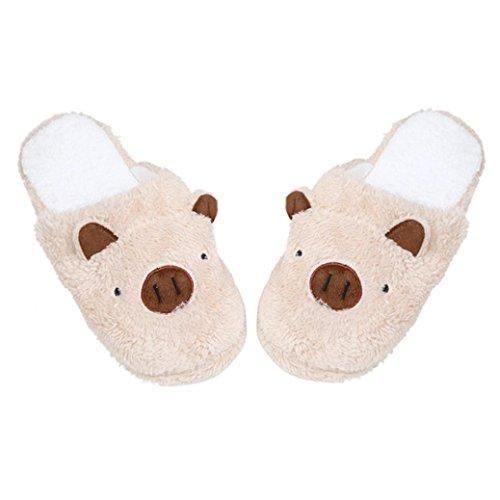 Gotd Women Sandals Soft Pig Lovely Home Floor Stripe Warm Indoor Slippers Female Shoes Fleece Plush Bedroom House Shoes Non Slip Winter Boots (Small Length:25cm, (Small 2007 Calendar)