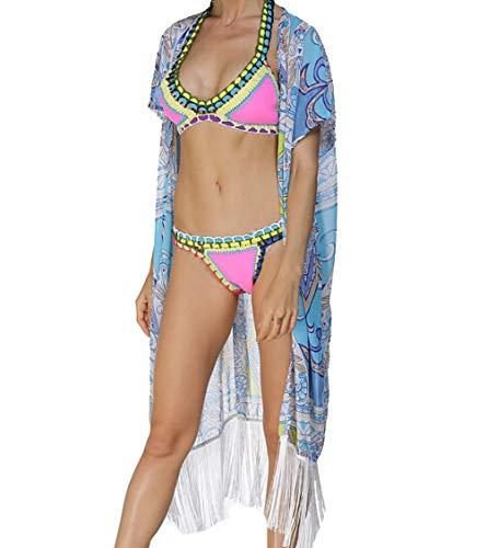 - Bestyou® Women's Beachwear Cover-ups Tunic Chiffon Geometry Print Kimono Cardigan (Geometry Print H)