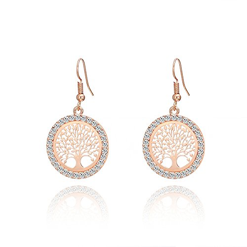 - Dangle Earring for Women,Celtic Tree of Life Drop Earring Gold and Silver Hoop Earring with CZ Crystal (Rose Gold)