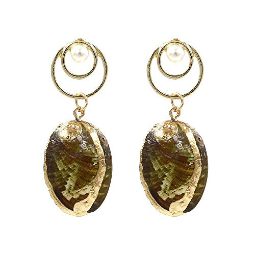 - PLLP Novelty Jewelry-Women's Earrings Original Design Geometric Circle Earrings Creative Simple Enamel Gold Fashion Conch Shell Pendant Earrings Eardrop