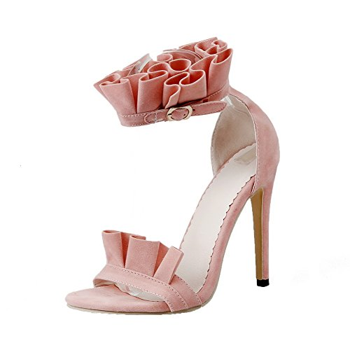 AgooLar Women's High-Heels Solid Buckle Open-Toe Sandals, Pink, 37
