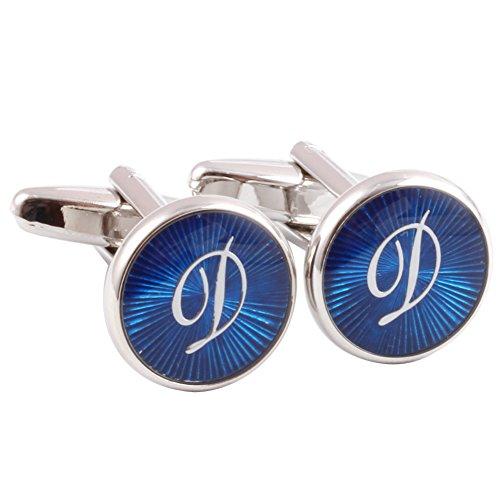 HJ Men's 2PCS Rhodium Plated Cufflinks Silver Initial Letter Shirt Wedding Business 1 Pair Set Blue (Blue Cufflinks)