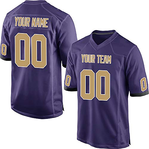 Custom Youth Purple Mesh Personalized Football Jerseys for Kids Swen Team Name and Your Numbers,Gold-White Size S