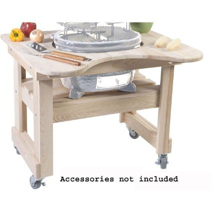 - Primo 605 Cypress Wood Table for Primo Oval Junior Grill, 4 Wheels