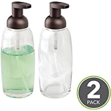mDesign Foaming Glass Soap Dispenser Pumps for Bathroom Counter, Vanity- Pack of 2, Clear/Bronze