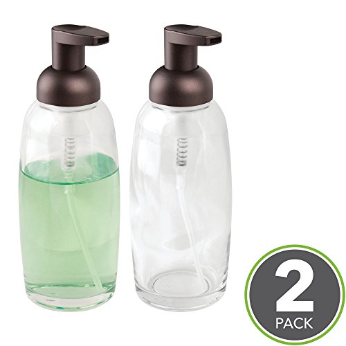 mDesign Foaming Glass Soap Dispenser Pumps for Bathroom Counter, Vanity- Pack of 2, Clear/Bronze (Traditional Classic Soap Holder)