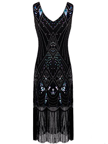 Hem Flapper 1920s Blue FAIRY Tassels COUPLE Gatsby Dress Black D20S014 Embellished Sequined YwR76q
