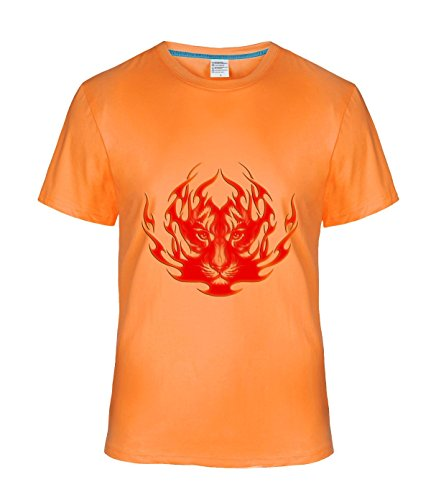 Ta Dey Cool Burning Flame Tiger Tees for Mens XL orange
