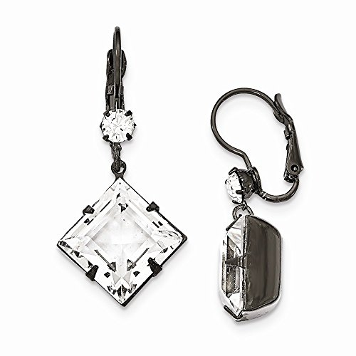 (1928 Jewelry, Black-plated Clear Swarovski Elements Leverback Earrings)