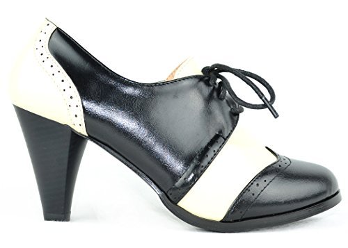 Chase & Chloe Dora-5 Two Tone Lace Up Low Heel Women's Oxford (6, Black/White) ()