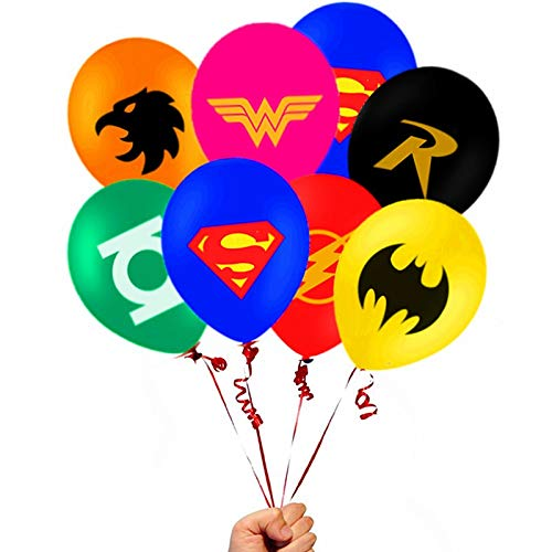 Masks Latex Balloons - Merchant Medley 28 Count Justice League Inspired Balloon Pack - Large 12 Inch Size - Latex - Includes 7 Styles