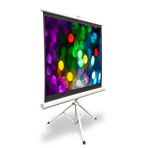 (Portable Projector Screen Tripod Stand - Mobile Projection Screen , Lightweight Carry & Durable Easy Pull Assemble System for Schools Meeting Conference Indoor Outdoor Use, 40 Inch By Pyle (PRJTP42))