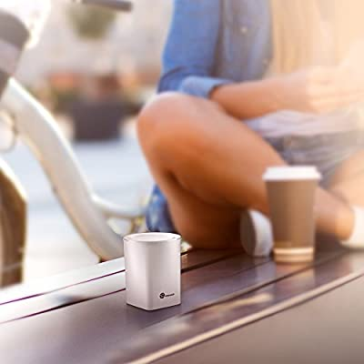 TaoTronics Wireless Bluetooth Speakers with Built-in Microphone and LED Light - White