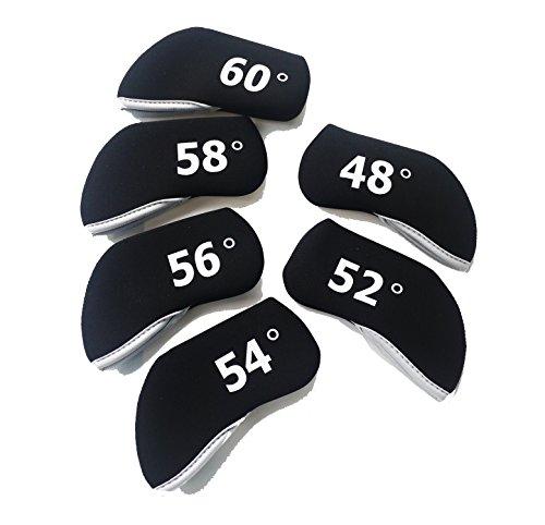 (Wedge Golf Club Head Covers Neoprene Case For 48-60 degree 6pcs/set Black)