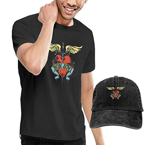 GabrielR Men's Bon Jovi T-Shirts Washed Denim Baseball Dad Caps Black S