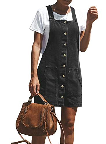 Two Pocket Overalls Denim - Dokotoo Womens Fashion Basic Loose Solid Juniors Summer Spring Classic Button Down Adjustable Strap Denim Jean Overall Mini Dress with Pockets X-Large