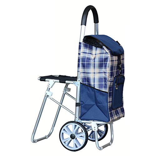 (Extra Large Bearing Wheel with Stool Oxford Cloth Shopping Cart Folding Aluminum Alloy Trolley Car Trolley Old Cart (Color :)