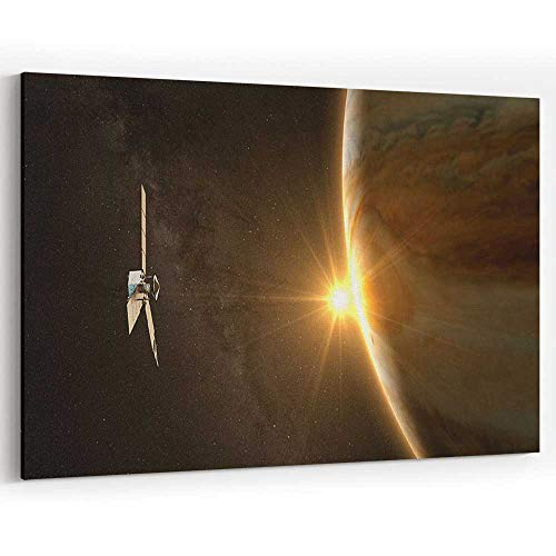 Jupiter and Satellite Juno Canvas Prints Wall Art for Home Decor Stretched-Framed Ready to Hang ()
