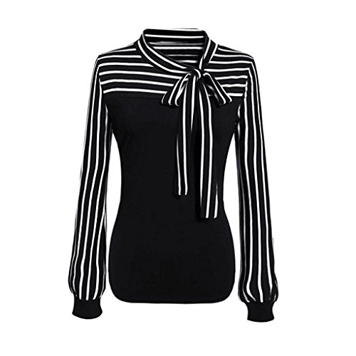 Striped Open Neck Shirt (2018 Women Tie-Bow Neck Shirt Striped Long Sleeve Splicing Blouse by TOPUNDER)